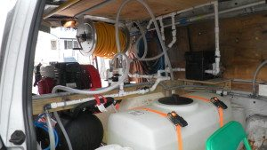 Plumbing of a roof cleaning truck